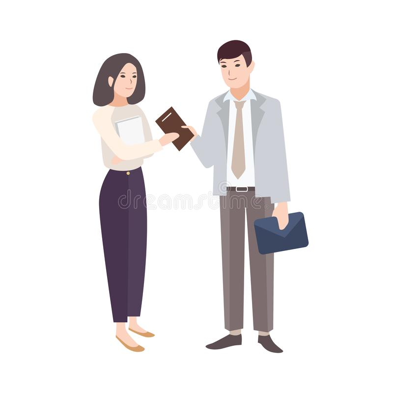 Lächelnder Mann, der der Frau Notizblock gibt Paare Büroangestellte, Manager, Kollegen oder Teilhaber lokalisiert auf Weiß stock abbildung
