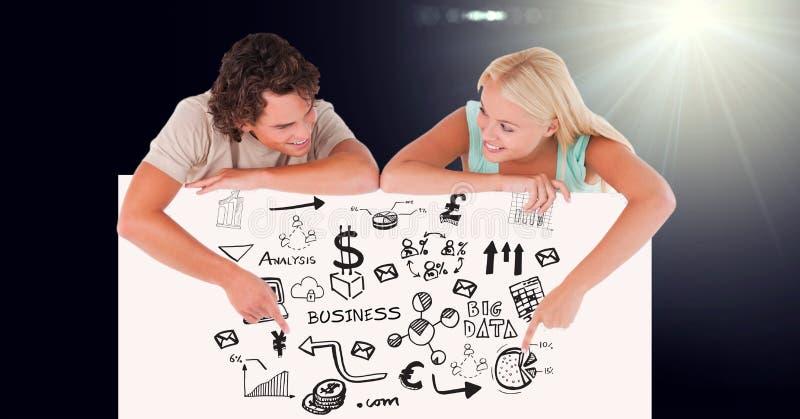 Lächelnder Mann und Frau, die auf kommerzielle Grafiken auf Anschlagbrett zeigen vektor abbildung