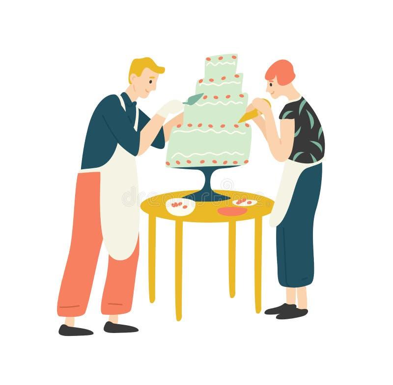 Lächelnder Mann und Frau, die Kuchen verzieren Glückliches Jungen- und Mädchenbacken, Nachtisch, Konfektionsartikel oder Gebäck k lizenzfreie abbildung