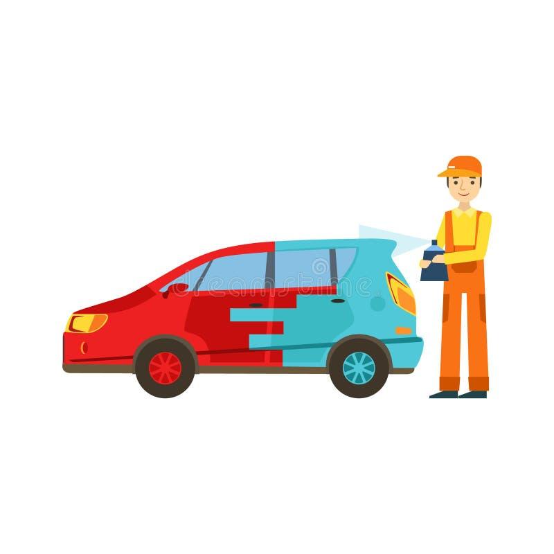Lächelnder Mechaniker Painting The Car in der Garage, Auto-Reparatur-Werkstatt-Service-Illustration vektor abbildung