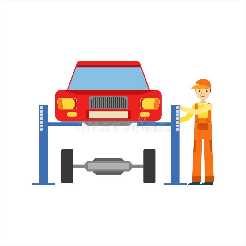 Lächelnder Mechaniker Repairing The Suspension in der Garage, Auto-Reparatur-Werkstatt-Service-Illustration stock abbildung