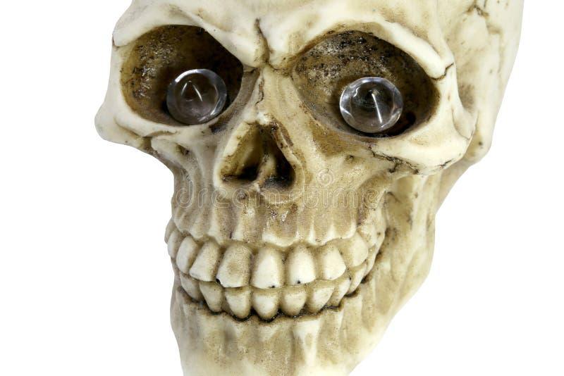 Lächelnder menschlicher Schädel mit kostbaren Diamanten in der leeren Augensocke lizenzfreie stockbilder