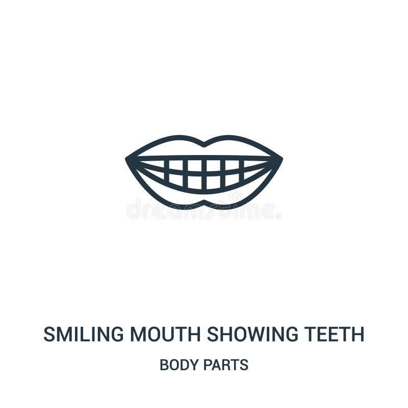 lächelnder Mund, der Zahnikonenvektor von der Körperteilsammlung zeigt Dünne Linie lächelnder Mund, der Zahnentwurfs-Ikonenvektor lizenzfreie abbildung