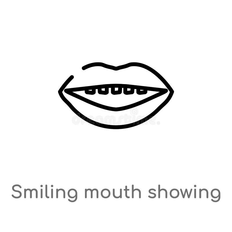 l?chelnder Mund des Entwurfs, der Zahnvektorikone zeigt lokalisiertes schwarzes einfaches Linienelementillustration vom menschlic stock abbildung