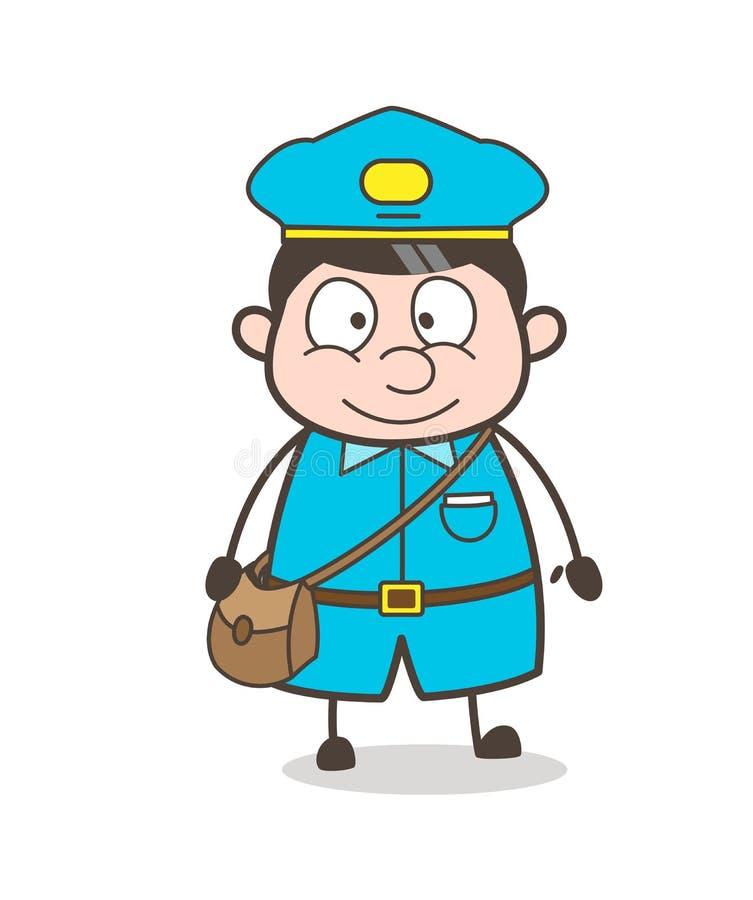 Lächelnder netter junger Postboy-Charakter stock abbildung