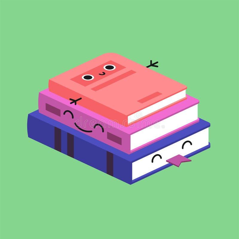 Lächelnder netter Stapel farbige Bücher, gewöhnen Kinderkarte vektor abbildung