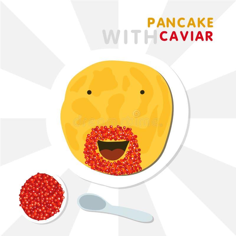 Lächelnder Pfannkuchen mit dem Bart gemacht durch roten Kaviar Vektor-Illustration für Shrovetide stockfoto