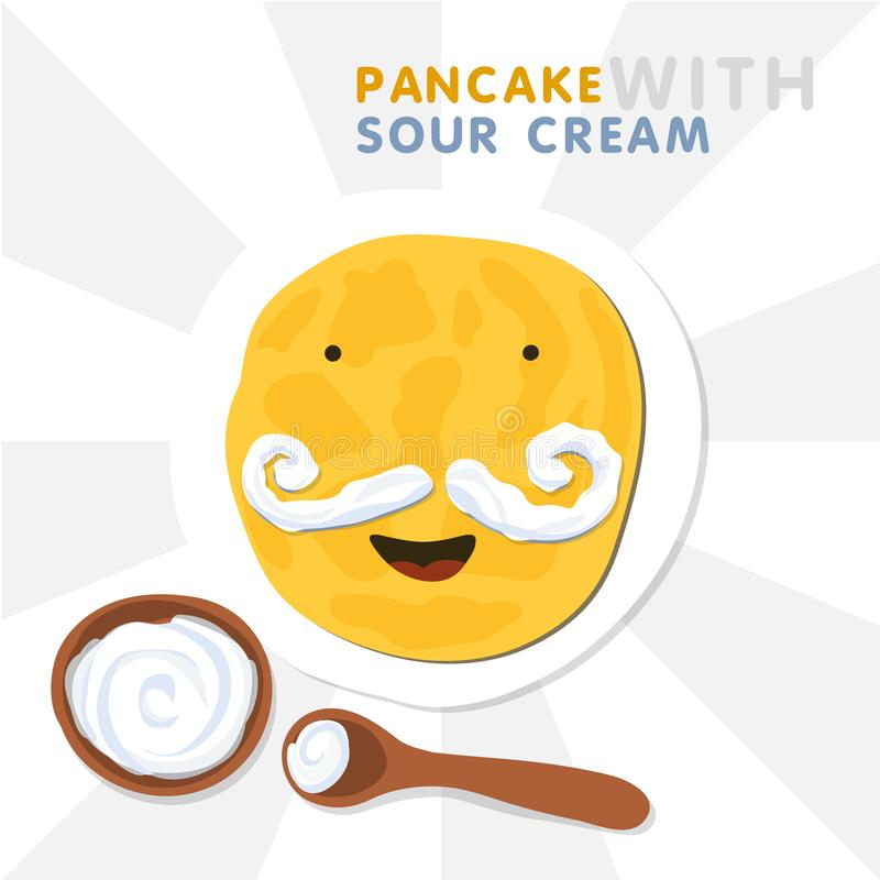 Lächelnder Pfannkuchen mit dem Schnurrbart hergestellt durch Sauerrahm Vektor-Illustration für Shrovetide lizenzfreie abbildung