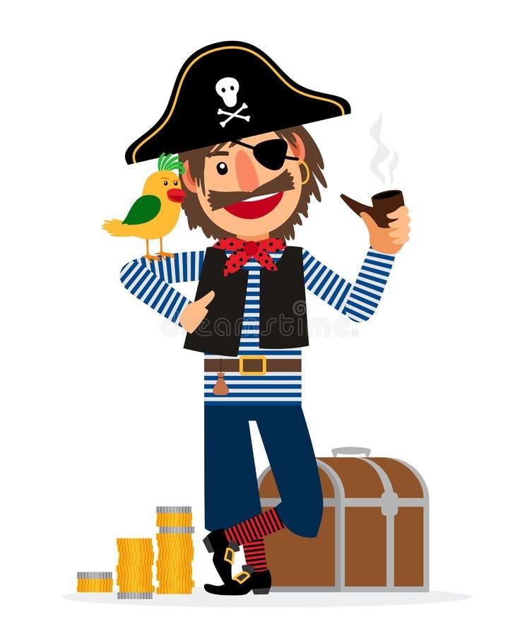 Lächelnder Piratencharakter mit Papageien lizenzfreie abbildung