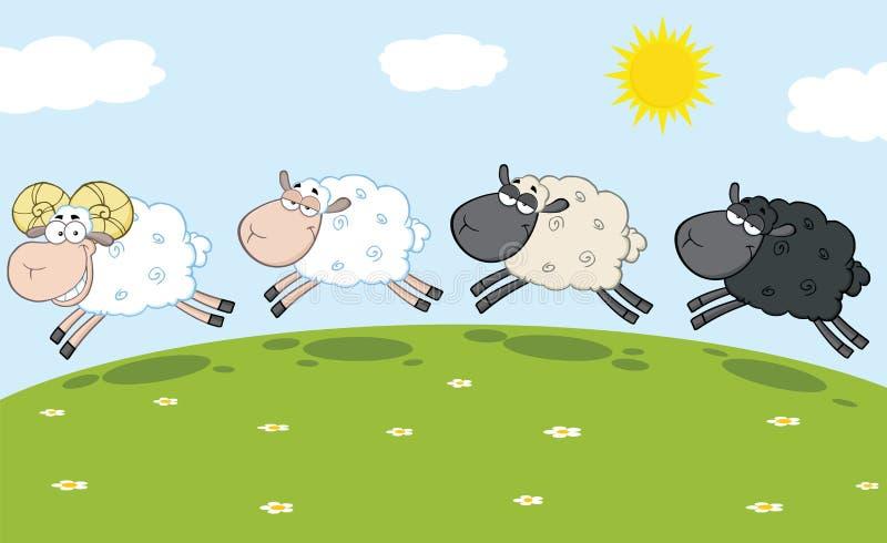 Lächelnder Ram Sheep Leading Three Sheep stock abbildung