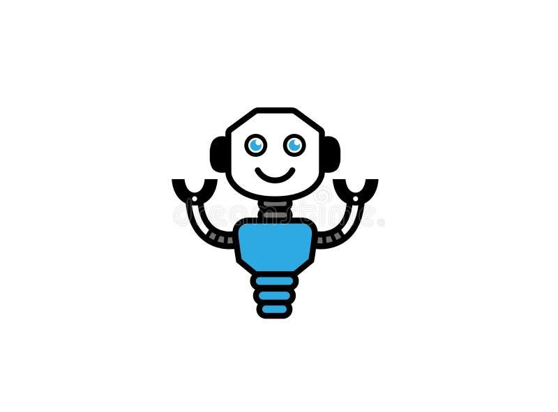 Lächelnder Roboter mit den Händen oben für Logo stock abbildung