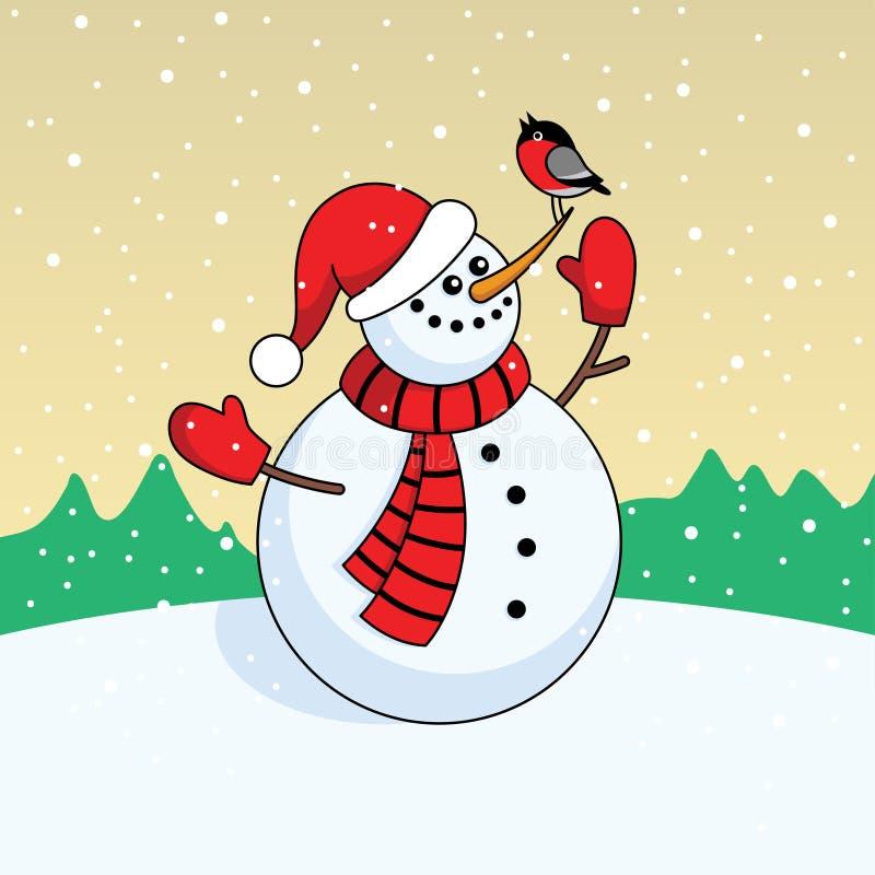 Lächelnder Schneemann der Karikatur in einer roten Kappe, in einem Schal und in Handschuhen im Schnee vektor abbildung
