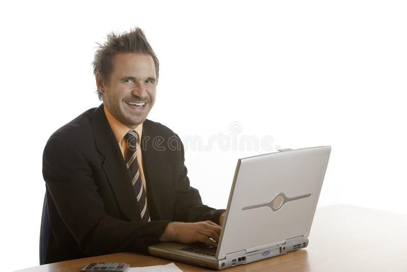 Lächelnder self-confident Geschäftsmann stockbilder