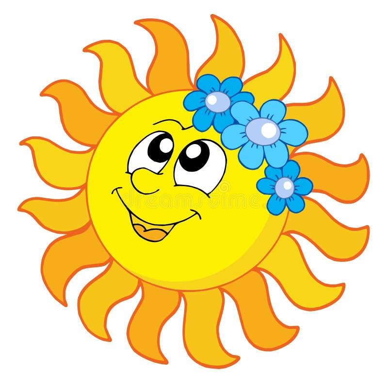 Lächelnder Sun mit Blumen stock abbildung