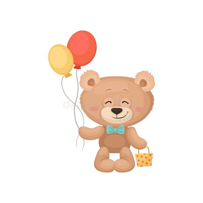 Lächelnder Teddybär, der Ballone und wenig Tasche hält Entzückendes Plüschspielzeug Flacher Vektor für Geburtstagsgrußkarte oder vektor abbildung