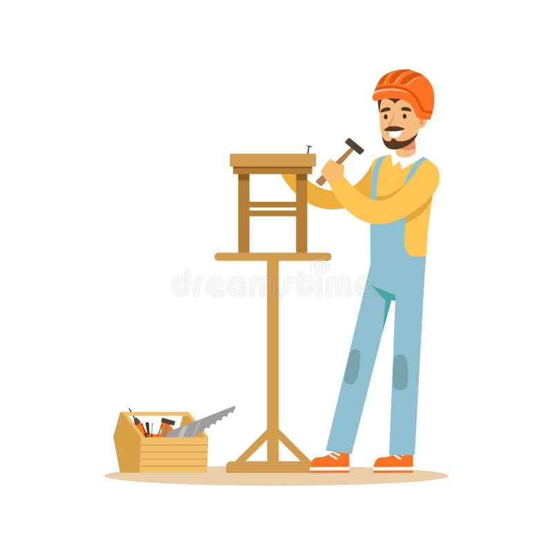 Lächelnder Tischler, der einen Holzstuhl, professionelle hölzerne Jointercharakter-Vektor Illustration errichtet stock abbildung
