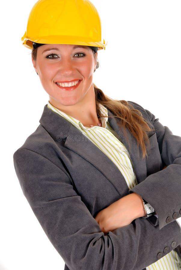 Lächelnder weiblicher Architekt stockfotos
