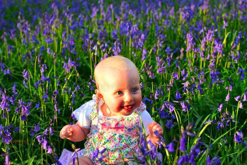 Lächelndes Baby, das auf einem erstaunlichen Gebiet von Glockenblumen sitzt stockfotografie