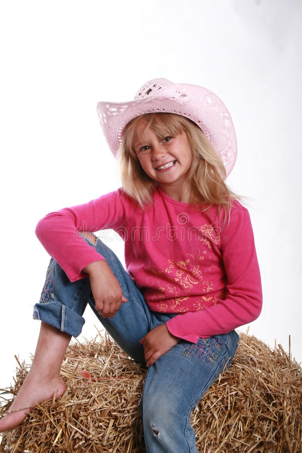 Lächelndes Cowgirl stockbilder