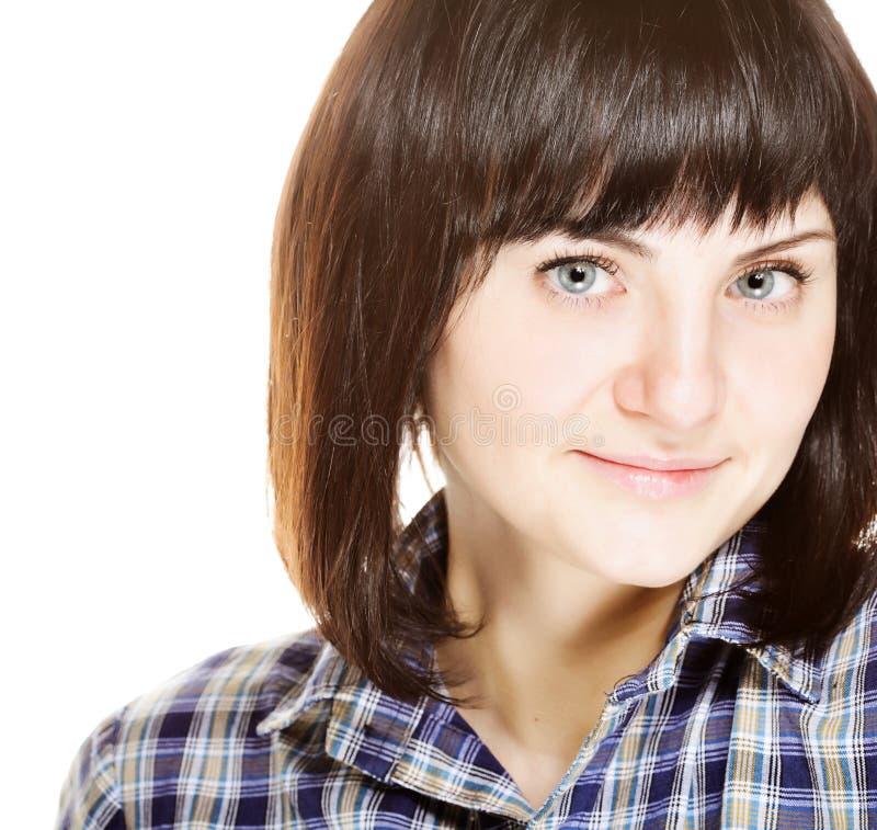 Lächelndes glückliches Frauenporträt der Junge auf Weiß lizenzfreie stockfotografie