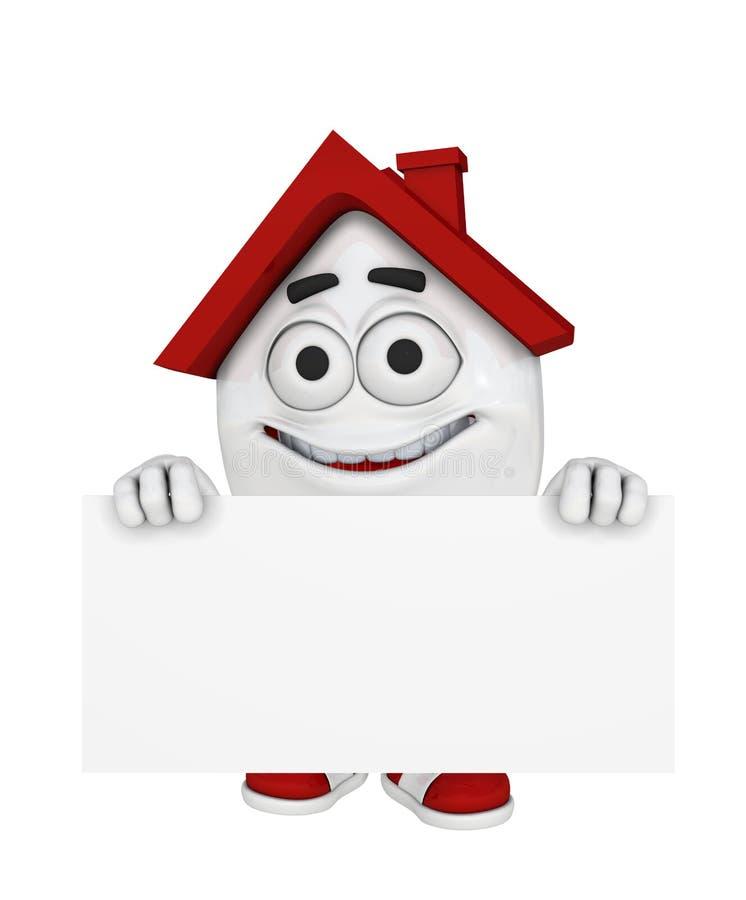 Lächelndes Haus mit Zeichen lizenzfreie abbildung