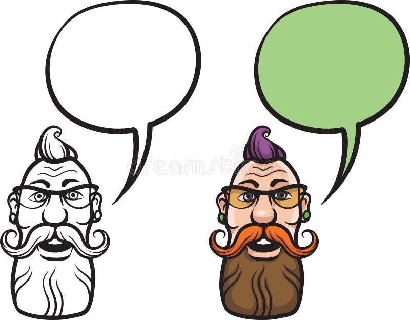 Lächelndes Hippie-Gesicht der Karikatur lizenzfreie abbildung