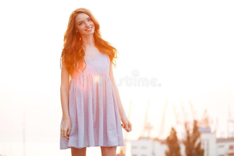 Lächelndes Ingwermädchen im Kleid lizenzfreie stockfotografie