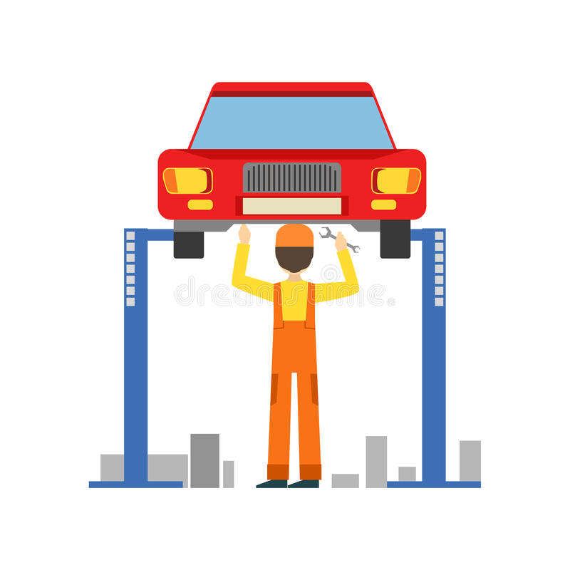 Lächelndes Mechaniker-Working Under Lifted-Fahrzeug in der Garage, Auto-Reparatur-Werkstatt-Service-Illustration stock abbildung