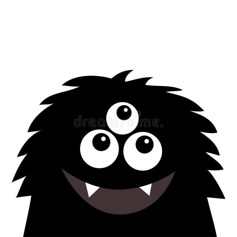 Lächelndes Monsterhauptschattenbild Thtee mustert, Zähne, Zunge, flaumiges Haar Schwarze lustige nette Zeichentrickfilm-Figur Bab lizenzfreie abbildung