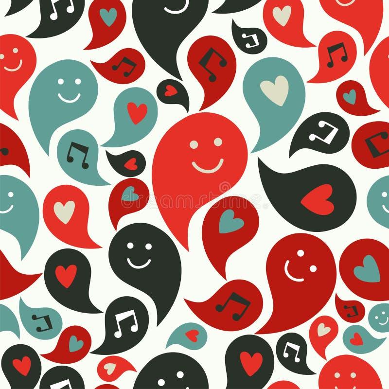 Lächelndes musikalisches Luftblasenmuster vektor abbildung
