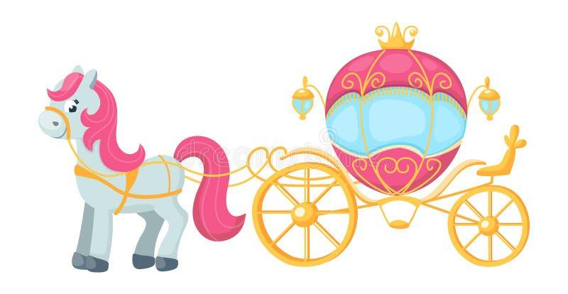Lächelndes nettes Pony mit rosa Mähnen- und Goldzug Schönes Pferd und königliche Kutsche Flache Illustration des Vektors vektor abbildung