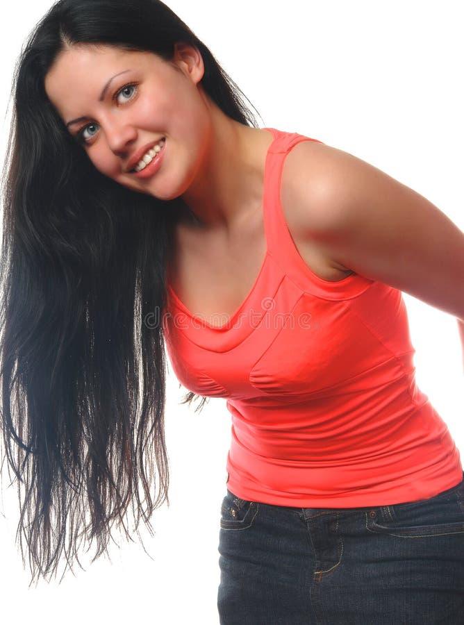 Lächelndes Portrait der jungen Frau stockfotos