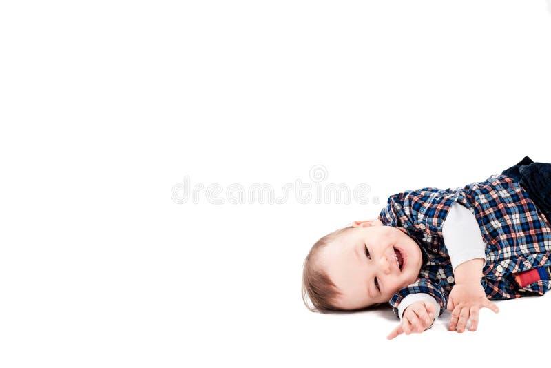 Lächelndes Schätzchen getrennt auf Weiß stockbilder