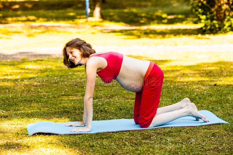 Lächelndes schwangeres Training im Freien stockfoto