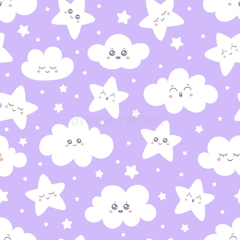 Lächelndes Stern- und Wolkenmuster des nahtlosen Purpurs für Babypyjamagewebe Glücklicher Schlafenlächeln-Sternhimmel Vektor vektor abbildung