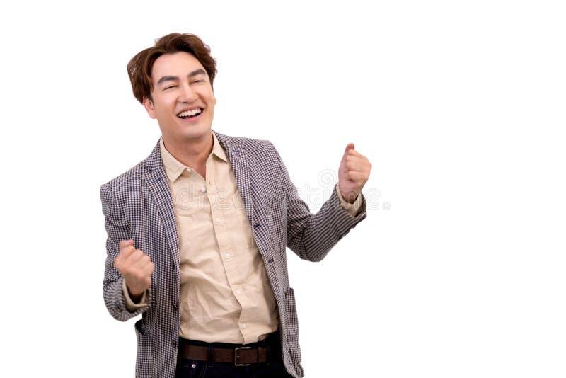 Lächelndes und glaubendes Glück des asiatischen Geschäftsmannes lizenzfreies stockfoto