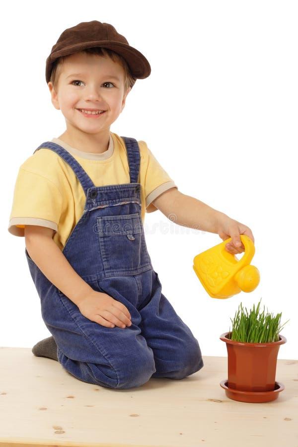 Lächelndes wässerndes eingemachtes Gras des kleinen Jungen lizenzfreie stockfotografie