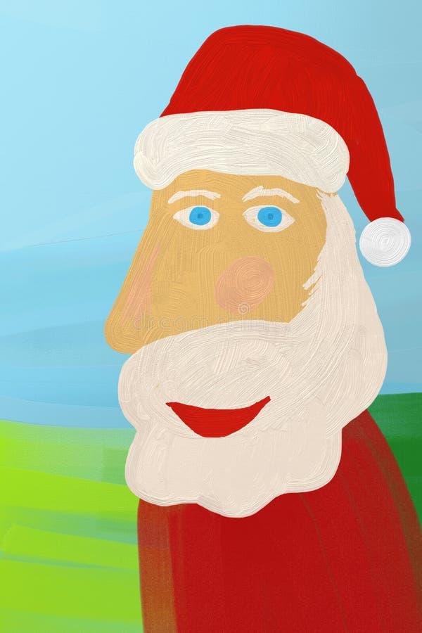 Lächelndes Weihnachtsmann-Ölgemälde lizenzfreie abbildung