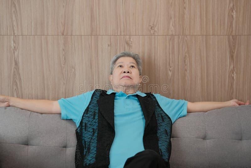 lächelndes zu Hause sich entspannen der älteren Frau 0old glückliches Ältestes älteres s lizenzfreie stockfotos