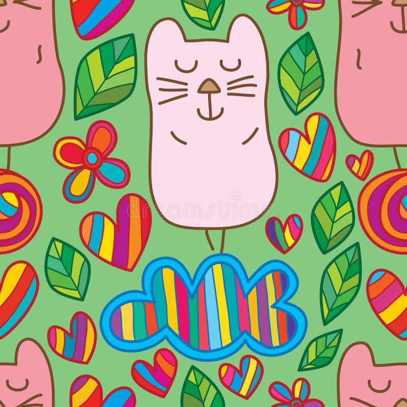 Lächelnstandblatt-Liebe der Katze nahtloses Muster der netten lizenzfreie abbildung