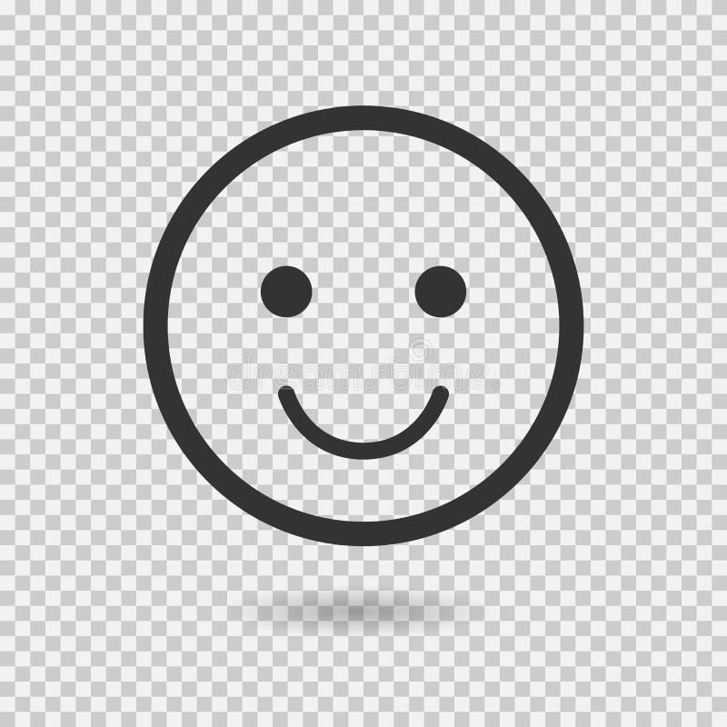 Lächelnvektorikone Emoji emoticon Flaches Gesicht Vektorillustration mit Schatten auf transparentem Hintergrund vektor abbildung