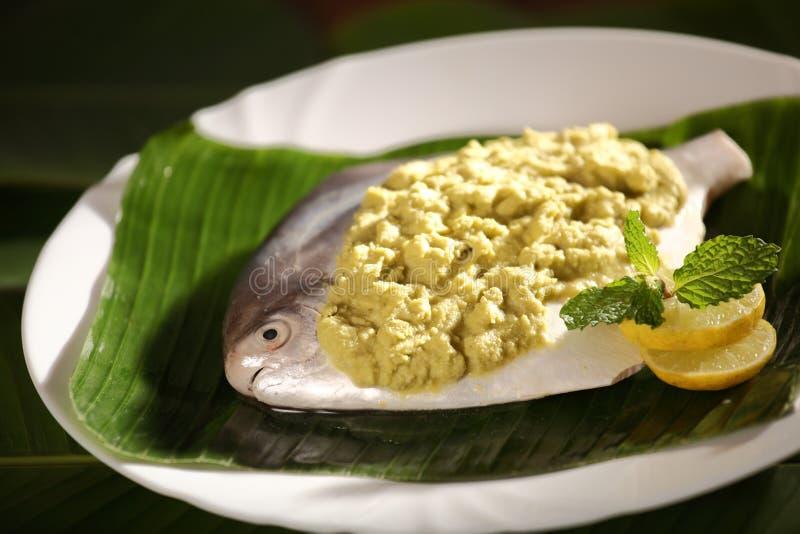 Läcker baked/ångad Parsi fisk royaltyfri foto