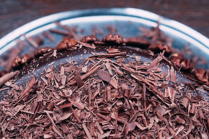 Läcker chokladkaka för makro med tokig och lyxig glasyr fotografering för bildbyråer