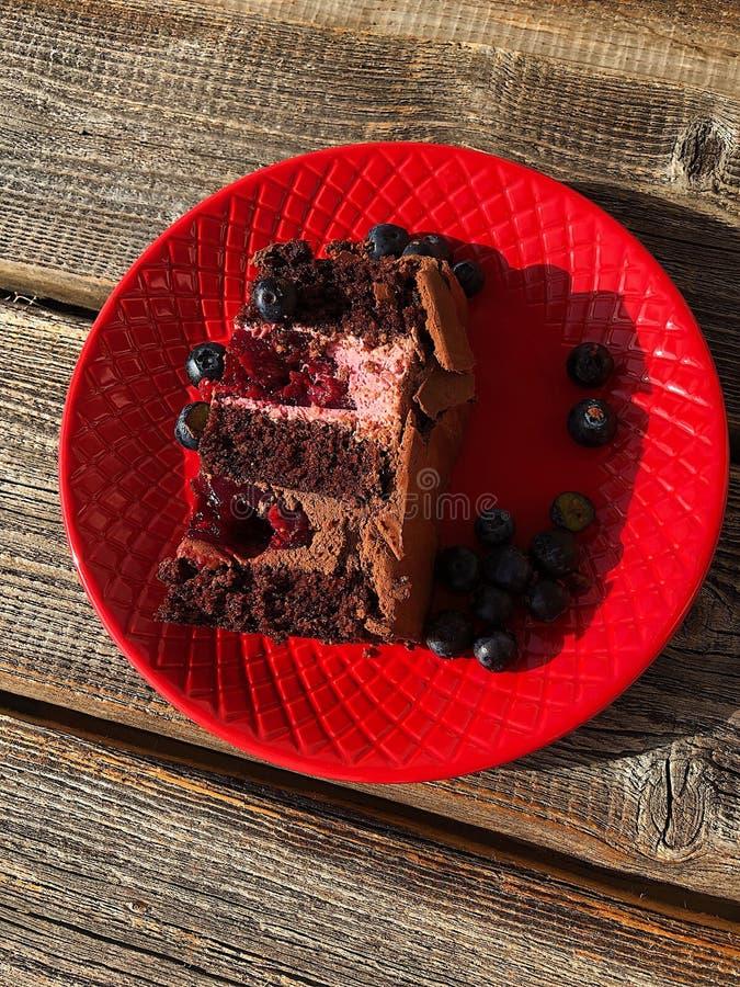 Läcker chokladkaka i en röd platta arkivfoton