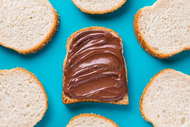 Läcker chokladsmörgås royaltyfri fotografi
