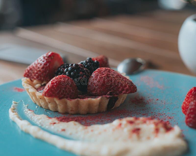 Läcker chokladtartine med röda frukter och kräm arkivbilder