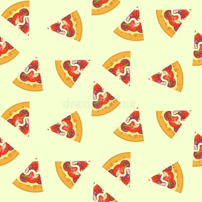 Läcker färgrik skivad pizza med salami, champinjoner, sömlös modell för tomat royaltyfri illustrationer
