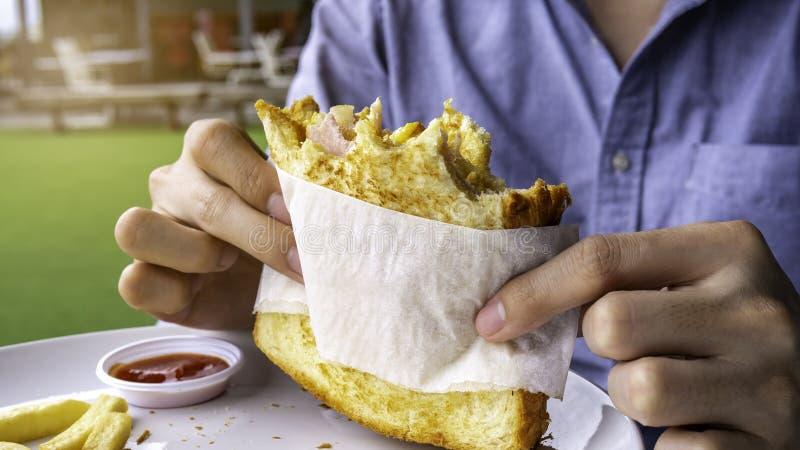 Läcker förvanskad äggskinkaostsmörgås royaltyfri bild