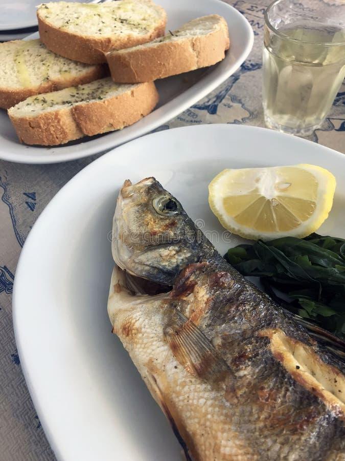 Läcker grillad fisk med en aptitretande skorpa med citronen, rostat bröd och hemlagat vin royaltyfri foto
