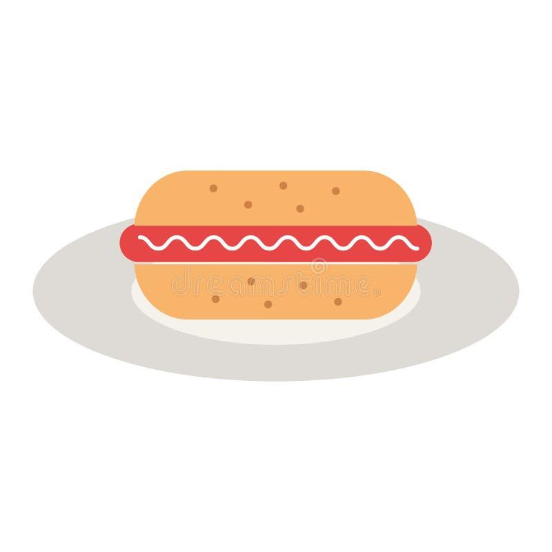 Läcker hamburgare i maträtt royaltyfri illustrationer